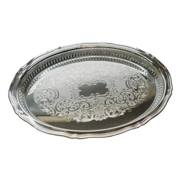 New Onida Chippindale Oval Gallery Tray Silver Pla